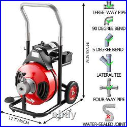 100ft x 1/2 Drain Cleaner 550W Drain Cleaning Machine Snake Sewer Clog withCutter