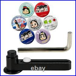 44mm 1.73'' Badge Button Maker Rotate Punch Machine + 100 Button + Circle Cutter