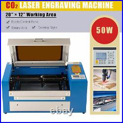 50W 20x12 50x30cm CO2 Laser Engraving Engraver Cutter Machine with Rotary Axis