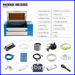 50W 20x12 CO2 Laser Engraver Cutter Engraving Machine Auxiliary Rotary Axis