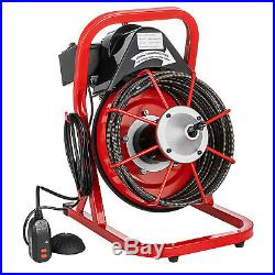 50ft x 3/8'' Electric Drain Auger Cleaner Machine Snake Sewer Clog With 5 Cutter