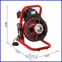 75ft x 3/8 Drain Cleaner 1- 4 Pipes Drain Auger Cleaning Machine with Cutters