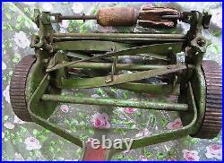 ANTIQUE LAWN MOWER GARDEN PUSH CUTTER MACHINE FOLBATE REAL CI wheel ENGLAND #