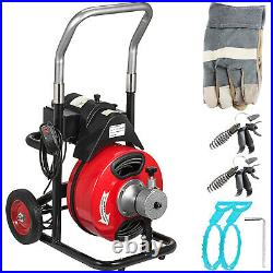 Commercial 100FT 3/8 Electric Drain Auger Drain Cleaner Machine Snake with Cutter