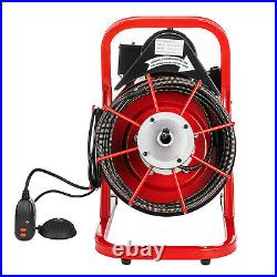 Commercial 3/8 Electric Drain Auger Cleaner Machine 50FT Sewer Snake with Cutter