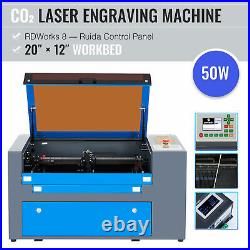 OMTech 50W CO2 Laser Engraver Cutter Machine with 12x20 Inch Workbed Ruida Panel